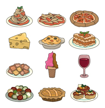 soup and salad: cartoon Italian food icon set