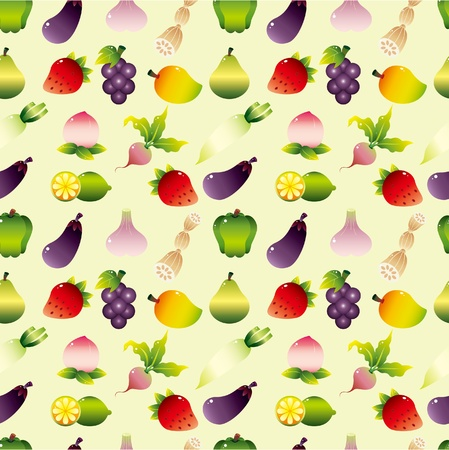 cartoon Fruits and Vegetable seamless pattern Vector