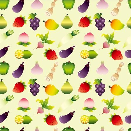 cartoon Fruits and Vegetable seamless pattern 일러스트