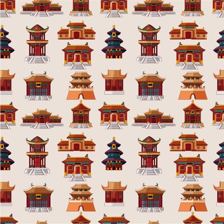 china wall: cartoon Chinese house seamless pattern  Illustration