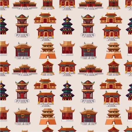 patrón de dibujos animados chinos casa transparente Ilustración de vector