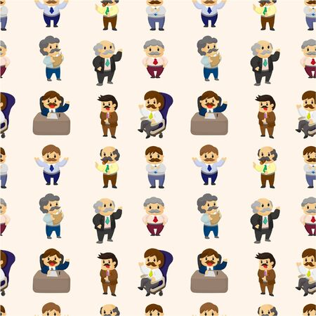 workers: cartoon boss and Manager seamless pattern