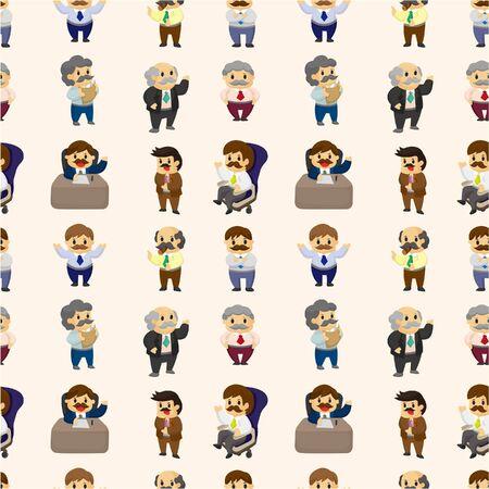 office worker cartoon: cartoon boss and Manager seamless pattern