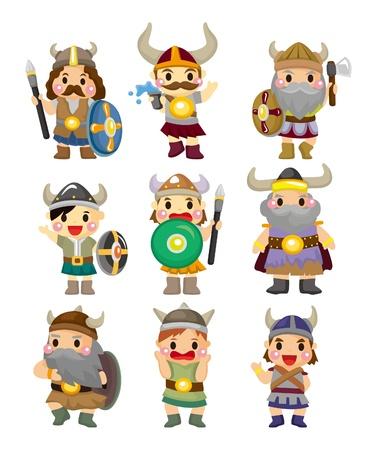 vikingo: dibujo animado conjunto de iconos de Viking pirata