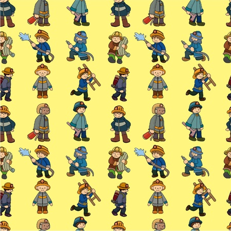 cartoon Fireman seamless pattern  Vector
