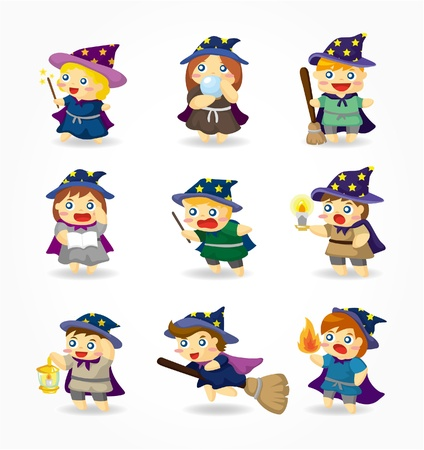 sorcerer: cartoon Wizard and Witch icon set Illustration