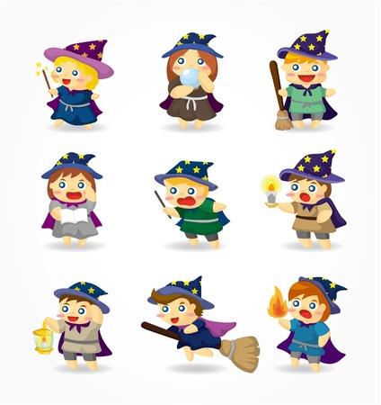 cartoon Wizard en Witch pictogramserie Vector Illustratie