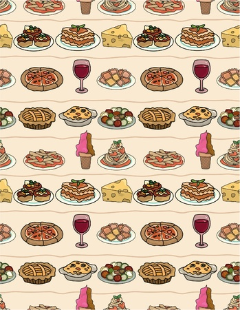 soup and salad: cartoon Italy food seamless pattern