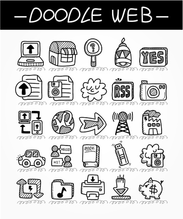 printers: cartoon web doodle icon set
