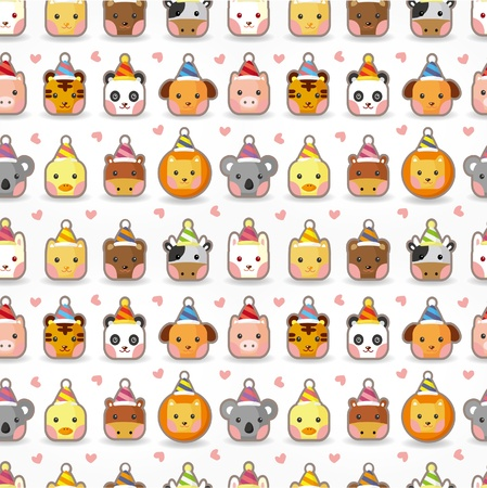 cartoon animal party seamless pattern Stock Vector - 9935326