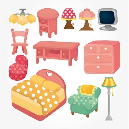 conjunto de iconos de dibujos animados lindo mobiliario Ilustración de vector