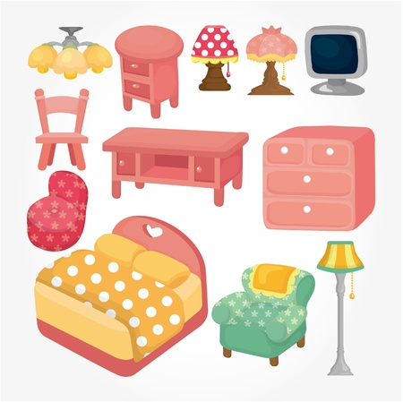 cute cartoon furniture icon set Vector