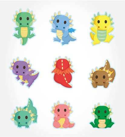 classical mythology character: cartoon fire dragon icon set