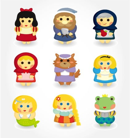 cartoon story people icon set Vector