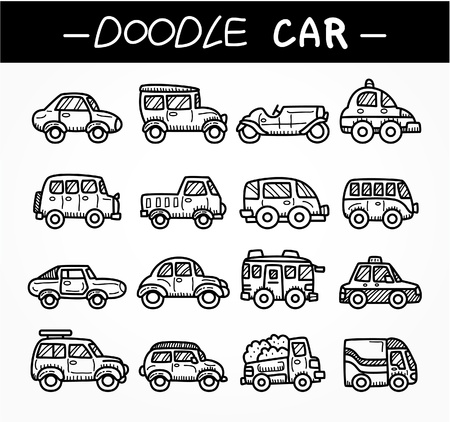 doodle cartoon car icon set Vector