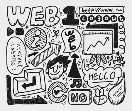 doodle web element icon set Stock Vector - 9935343