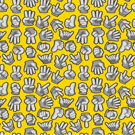 Cartoon Hands seamless pattern Stock Vector - 9935341