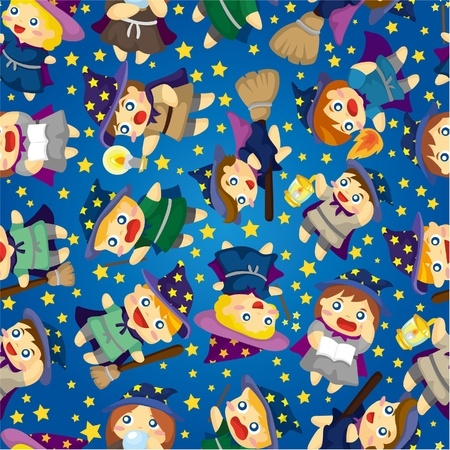 cartoon Wizard and Witch magic seamless pattern Vector