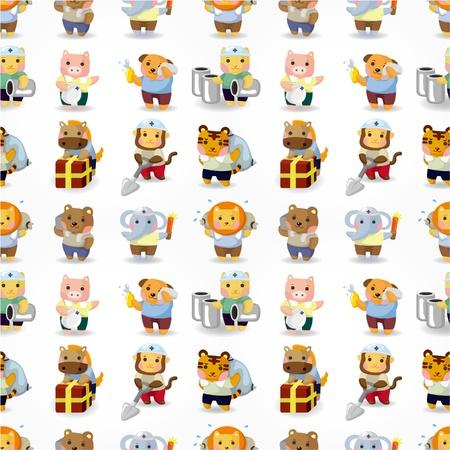 working animals: cartoon animal worker seamless pattern