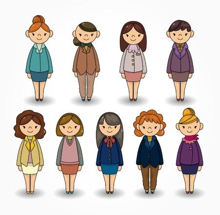 cartoon pretty office woman worker icon set Stock Vector - 9935269