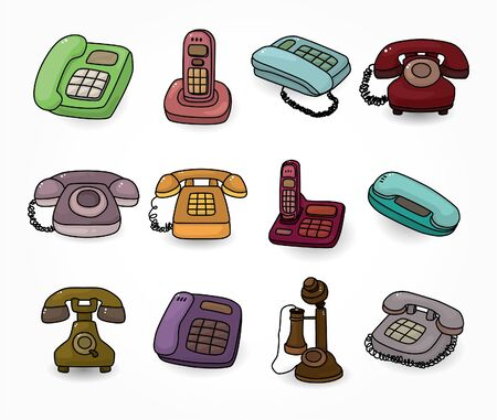 funny retro cartoon phone icon set Vector