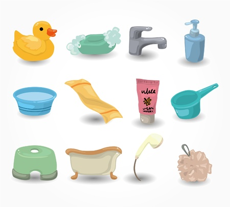 cartoon Bathroom Equipment icon set Stock Vector - 9935268
