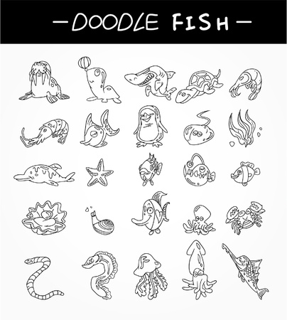jellyfish: hand draw aquarium fish icons set