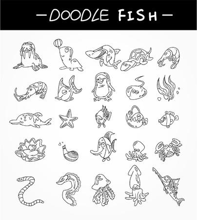 pez espada: mano dibujar conjunto de iconos de peces de Acuario