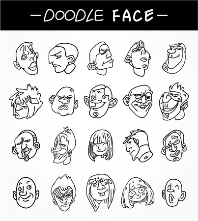 hand draw people face icons set Stock Vector - 9935270