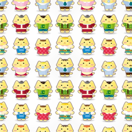sweet cat family seamless pattern Vector