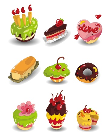 cartoon cake icons set Stock Vector - 9935286