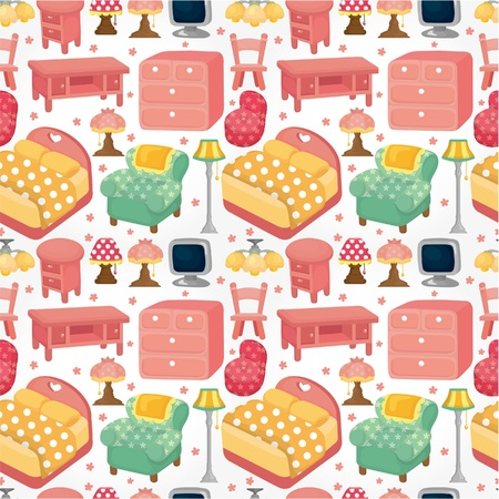 cartoon pink furniture seamless pattern Vector