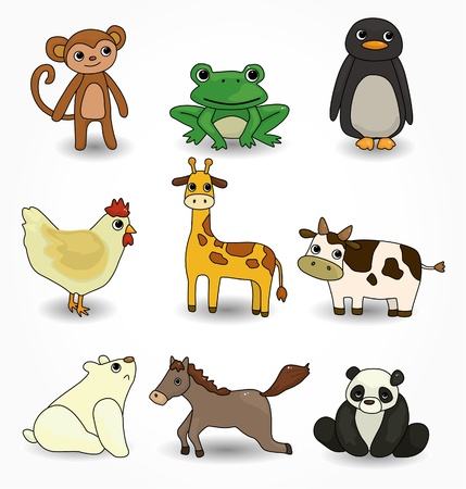 cartoon animal icons set Stock Vector - 9935305