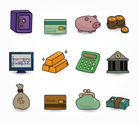 coin purses: cartoon Finance & Money Icon set