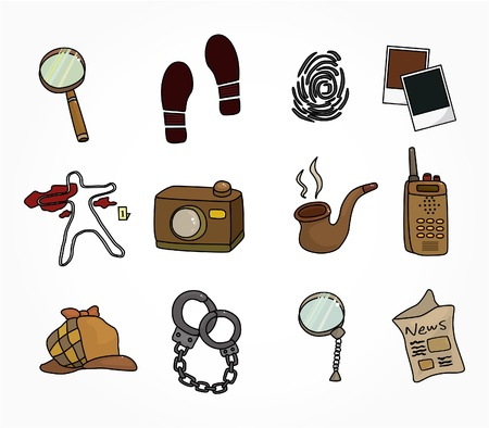 investigating: Cartoon detective equipment icon set Illustration
