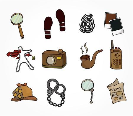 investigacion: Conjunto de iconos de equipo de detectives de dibujos animados