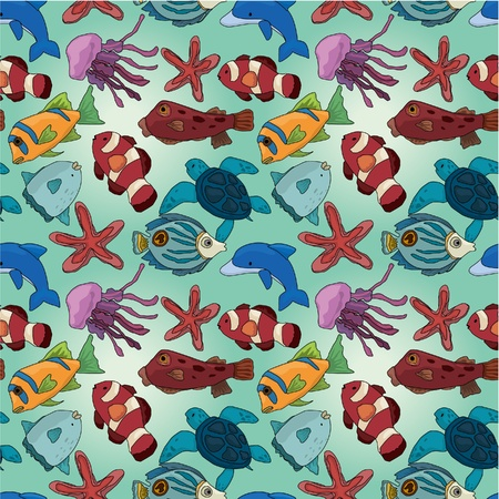 cartoon fish seamless pattern Stock Vector - 9935311