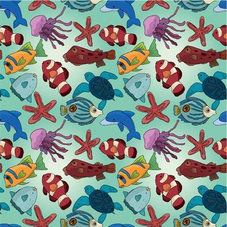 De dibujos animados patrón de los peces sin problemas Foto de archivo - 9935311