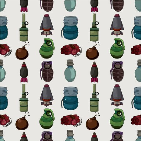 munition: cartoon bomb seamless pattern