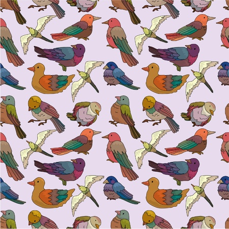 cartoon bird seamless pattern  Vector