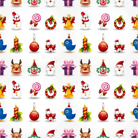cartoon trees: Seamless Christmas funny cartoon Illustration
