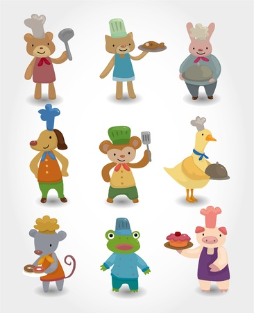 cartoon animal chef icons set Vector