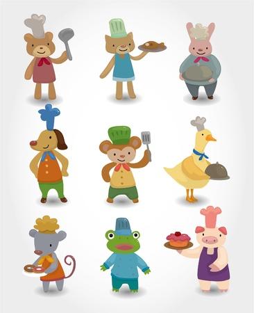 amigos comiendo: conjunto de iconos de dibujos animados chef animal Vectores