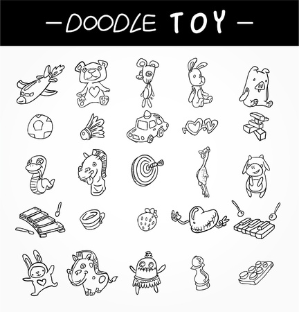 hand draw child toy icons set Vector