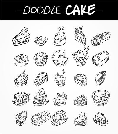 손으로 그리는 만화 케이크 아이콘 설정 스톡 콘텐츠 - 9935315