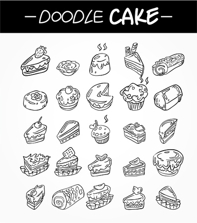 hand draw cartoon cake icons set Vector
