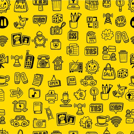 hand draw web icons seamless pattern Stock Vector - 9935293