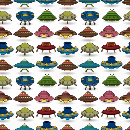 spacecraft: cartoon ufo spaceship seamless pattern  Illustration