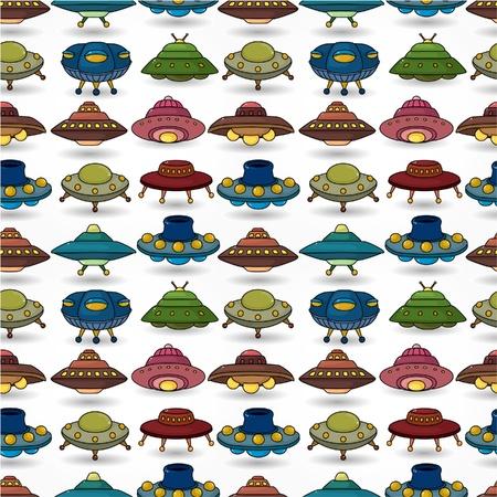 cartoon ufo spaceship seamless pattern Vector Illustration