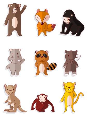 cartoon wildlife animal icons set Vetores